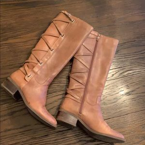 BCBG Brown Leather Riding Boots